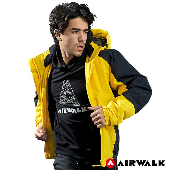 【AIRWALK】男款舖棉連帽外套-黃色