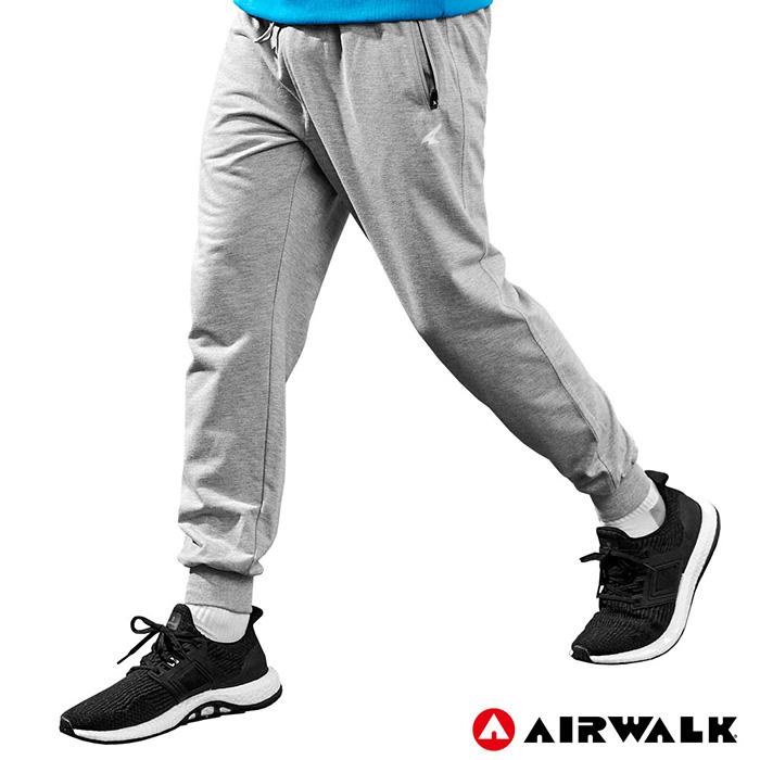 【AIRWALK】男款運動休閒長褲 -麻灰