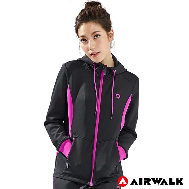 【AIRWALK】女款POLY針織外套-黑色