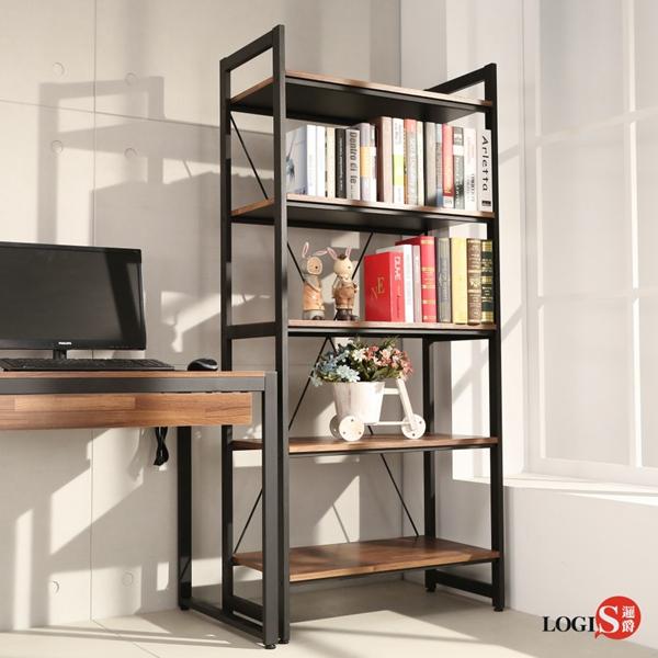 LOGIS  耐磨PVC防潑水工業風五層櫃 工作櫃 辦公櫃 書櫃 層架(長82x寬40x高177公分)