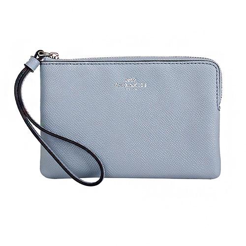 COACH- 烙印銀馬車logo防刮皮革L型手拿包(淺水藍色)