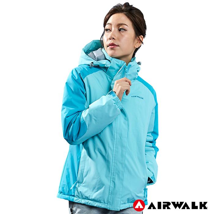 【AIRWALK】女款舖棉連帽外套-淺藍