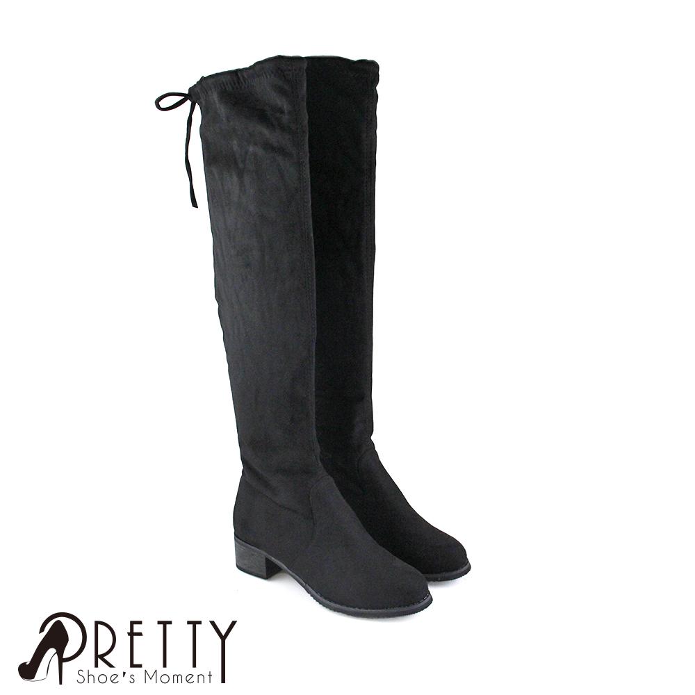 【Pretty】顯瘦彈性絨布蝴蝶結內刷毛低跟及膝靴