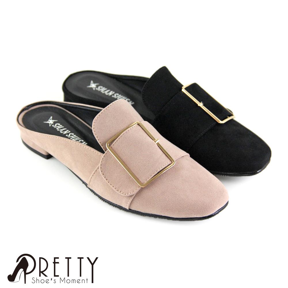 【Pretty】優雅金屬方框小方頭平底穆勒鞋