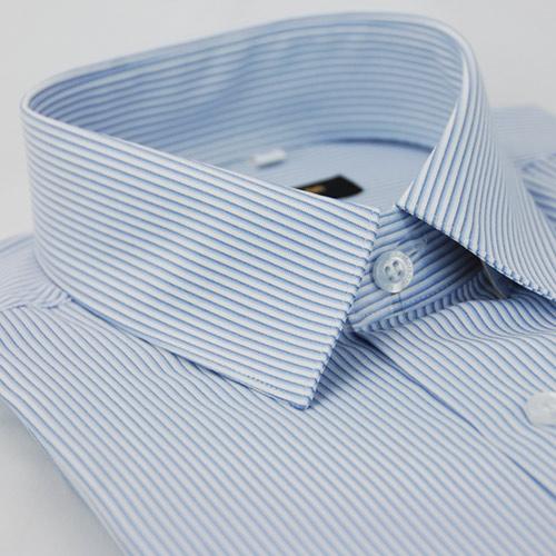 【金安德森】藍色條紋吸排窄版長袖襯衫