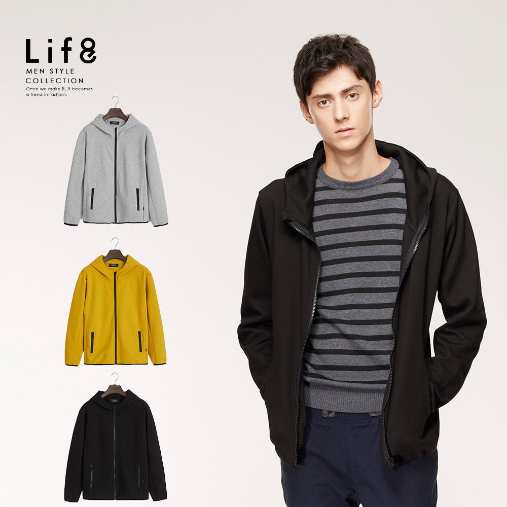 【Life8】Casual 高磅硬挺 運動風連帽外套-黑色/麻花灰/芥黃-10159
