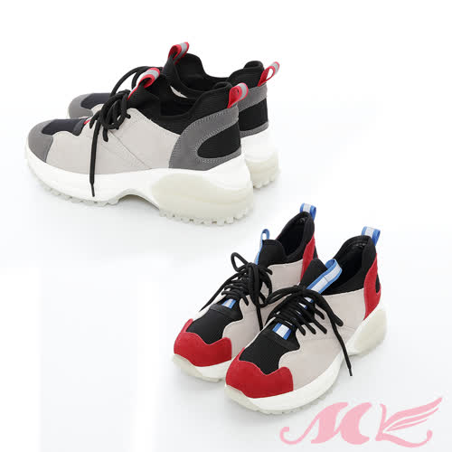【MK】真皮系列-透氣拼接時尚運動風休閒老爺鞋(2色)