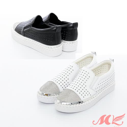 【MK】真皮-韓版透氣星星鏤空水鑽懶人鬆糕鞋(2色)
