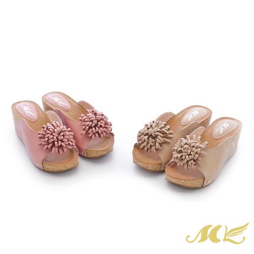 【MK】全真皮系列-大花朵U形厚底楔型拖鞋(2色)