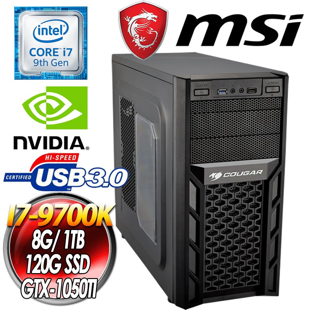 微星 Z390平台【黑街顏役】 i7-9700K 八核  GTX1050TI 獨顯高效能電腦