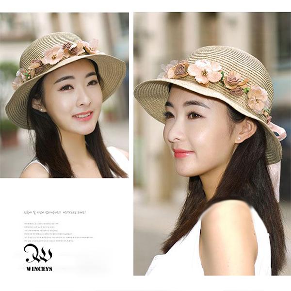 WINCEYS 韓版小清新編織透氣遮陽帽-編織花朵款 米