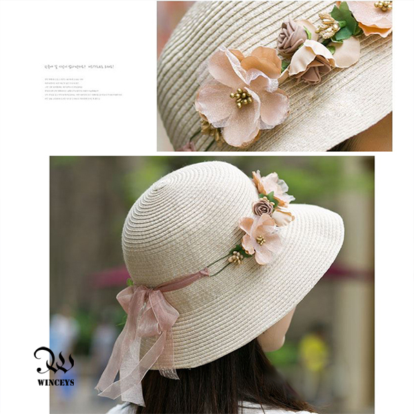 WINCEYS 韓版小清新編織透氣遮陽帽-編織花朵款 奶白