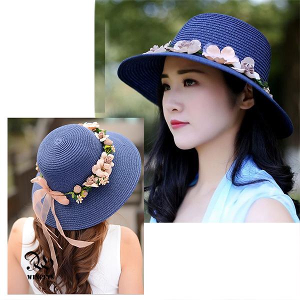 WINCEYS 韓版小清新編織透氣遮陽帽-編織花朵款 藏青