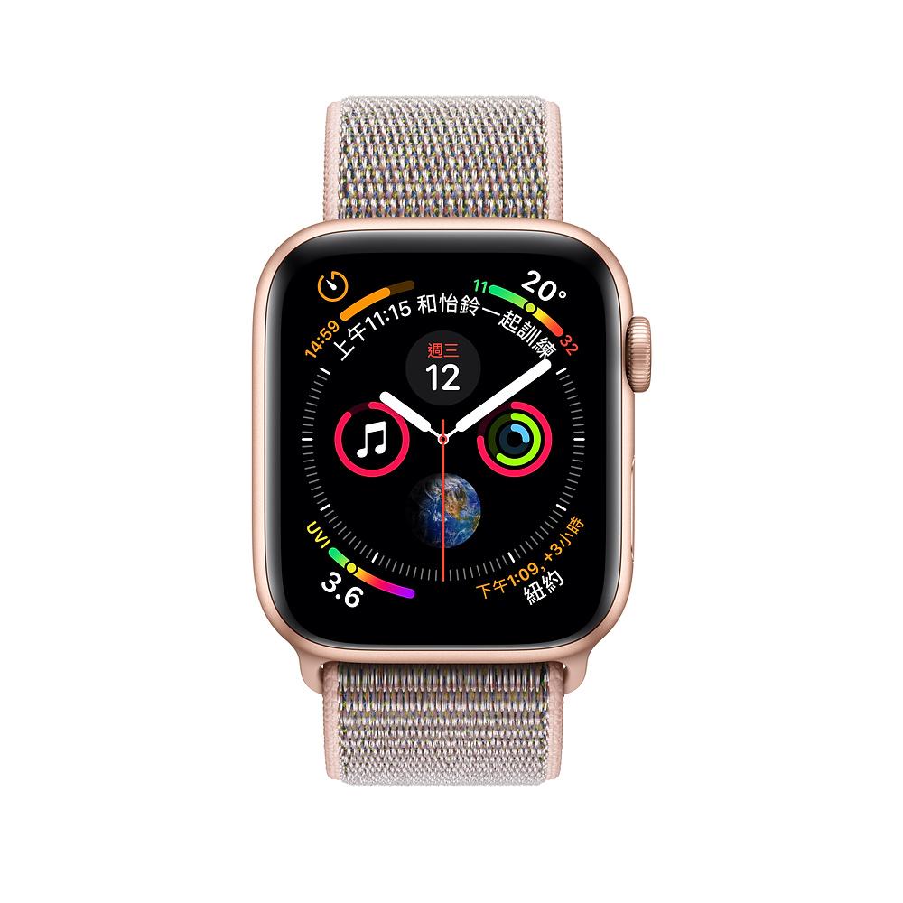 Apple Watch Series 4 (GPS+行動網路) 40 公釐 金色鋁金屬錶殼搭配粉沙色運動型錶環 MTVH2TA/A