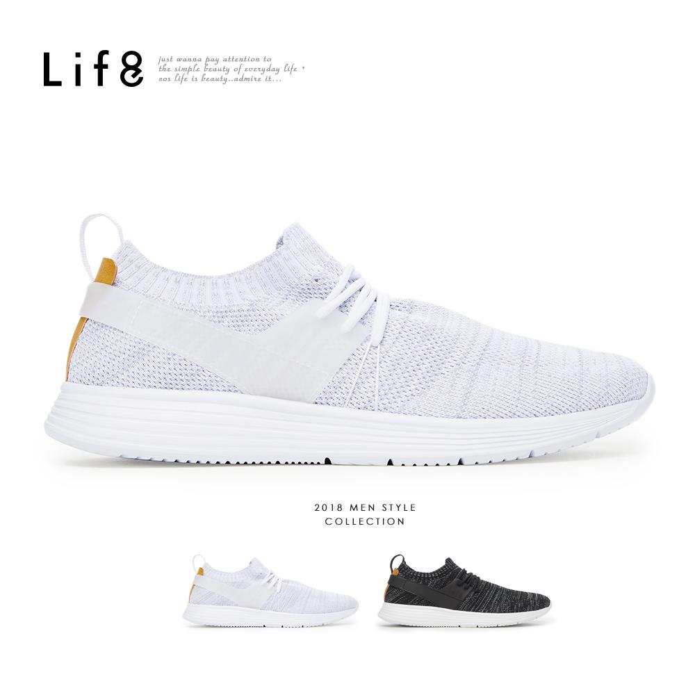 【Life8】Sport 輕量 防潑水 時尚襪套飛織運動鞋-灰色/黑色-09888