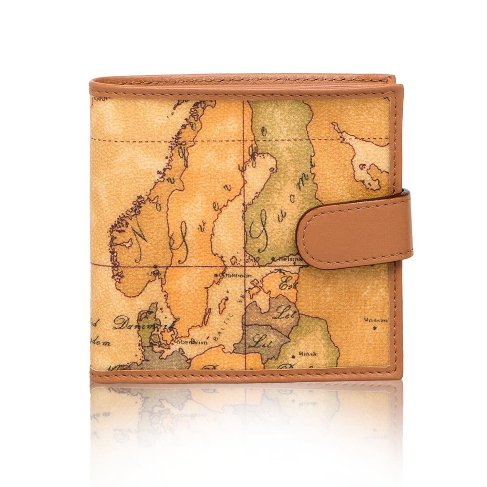 Alviero Martini 地圖包 經典5扣式卡時尚短夾