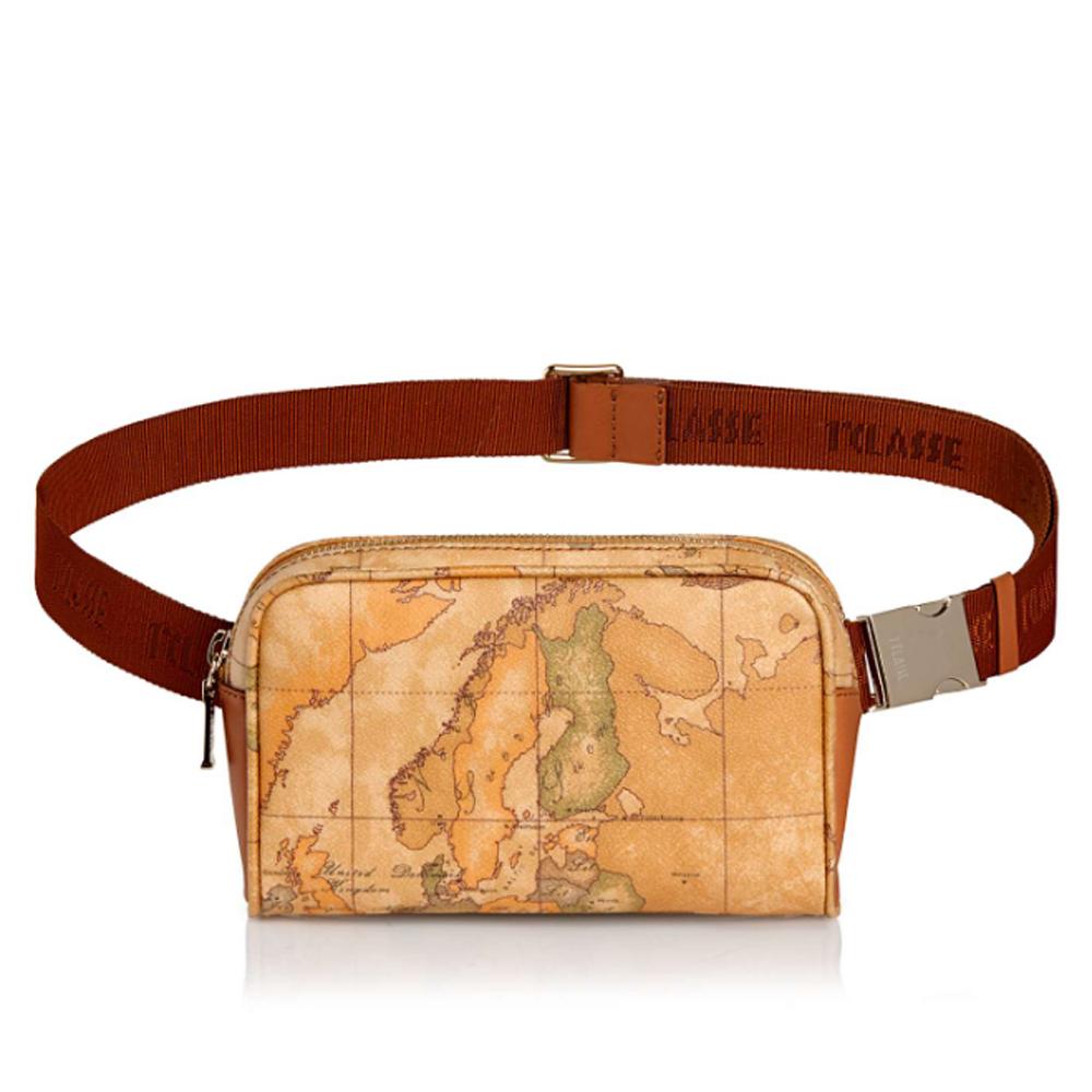 Alviero Martini 地圖包 經典拉鍊四方小腰包-地圖黃