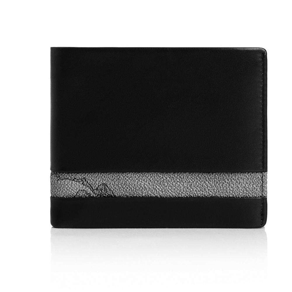 Alviero Martini 義大利地圖包 經典8卡時尚短夾(地圖灰/黑)