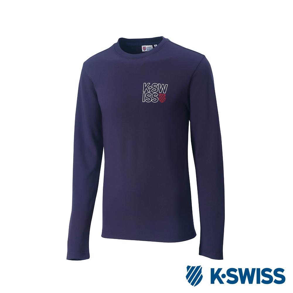 K-Swiss Long Sleeve T-Shirts 印花長袖T恤-男-藍