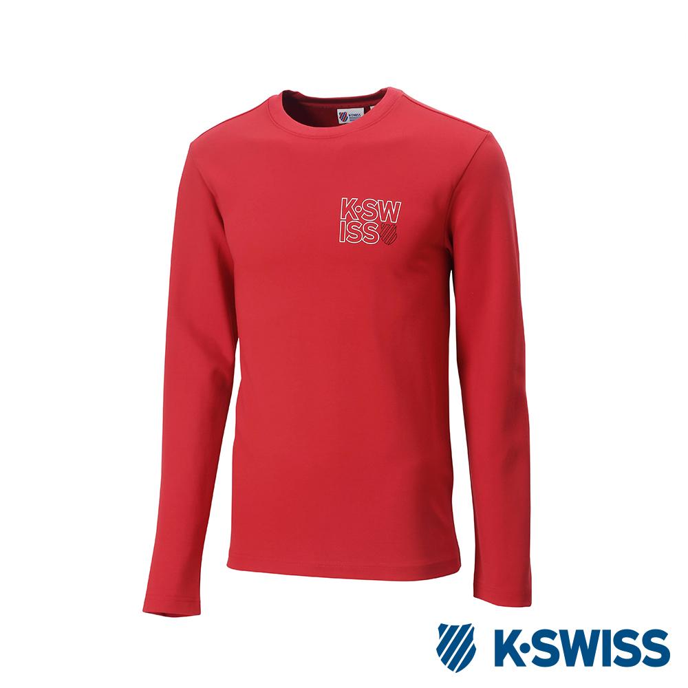 K-Swiss Long Sleeve T-Shirts 印花長袖T恤-男-紅