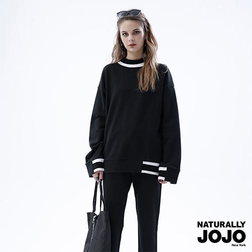 【NATURALLY JOJO】 高領羅紋配條上衣 (黑)