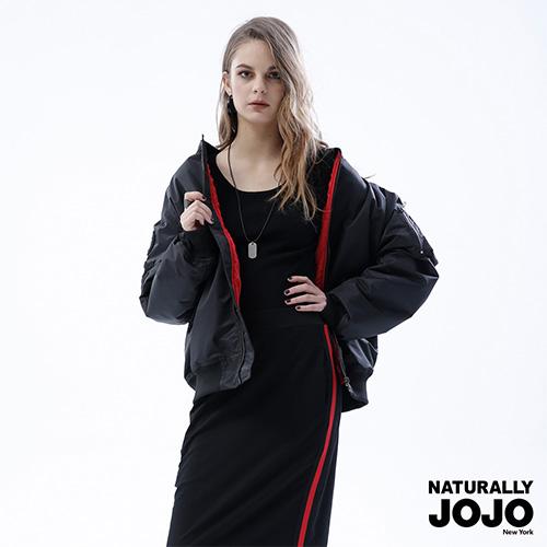 【NATURALLY JOJO】 電繡鋪棉飛行外套 (黑)