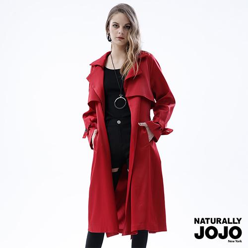 【NATURALLY JOJO】 時尚風衣極長外套 (紅/黑2色)
