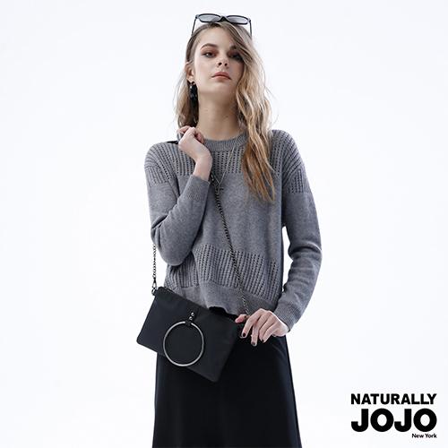 【NATURALLY JOJO】 挑洞側衩針織上衣 (灰)
