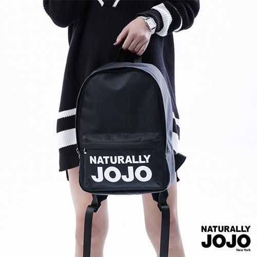 【NATURALLY JOJO】 經典尼龍LOGO後背包 (黑)