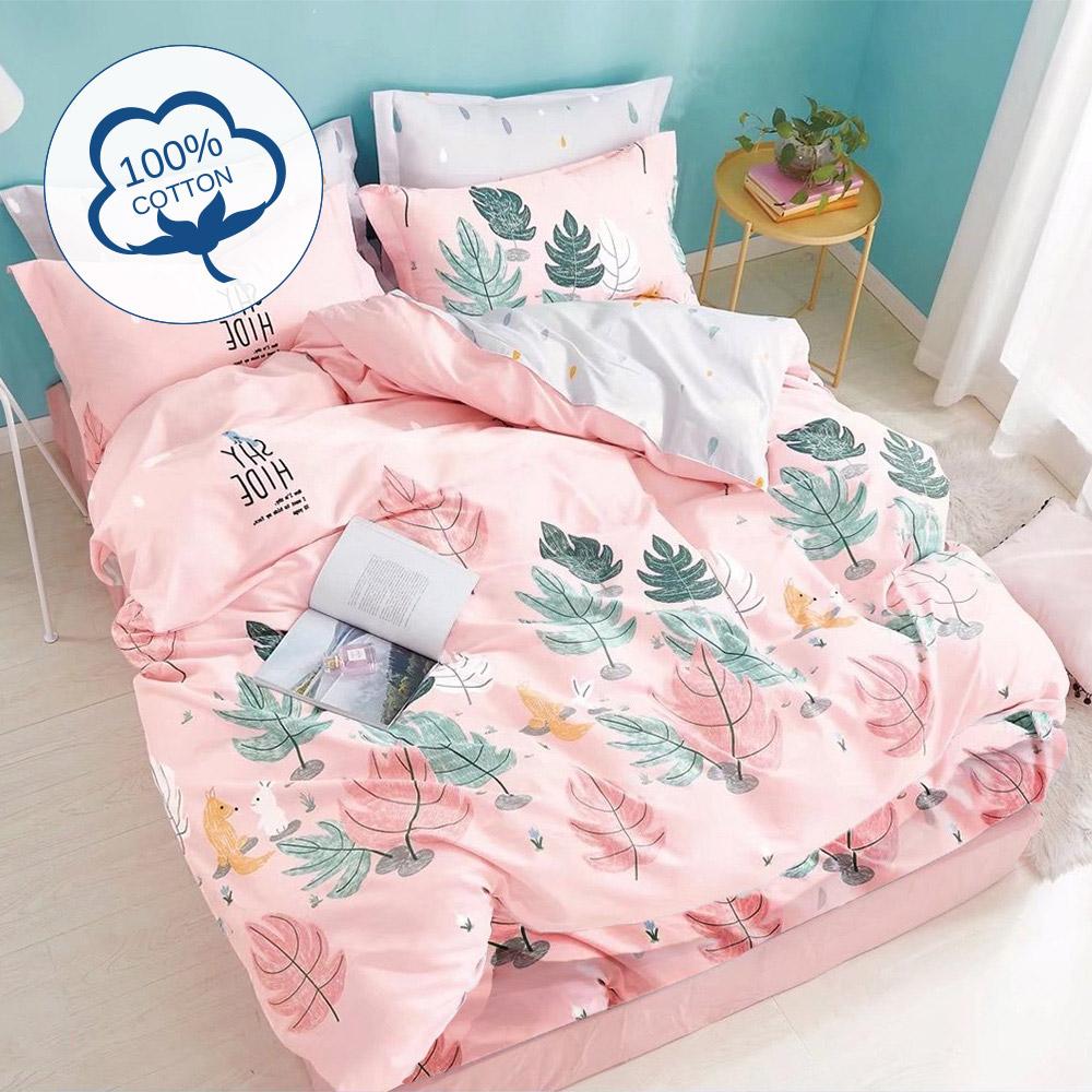 【ARTIS】台灣製100%極致純棉-雙人床包組-粉紅夏日
