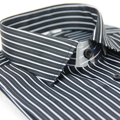 【金安德森】黑底白線條窄版長袖襯衫