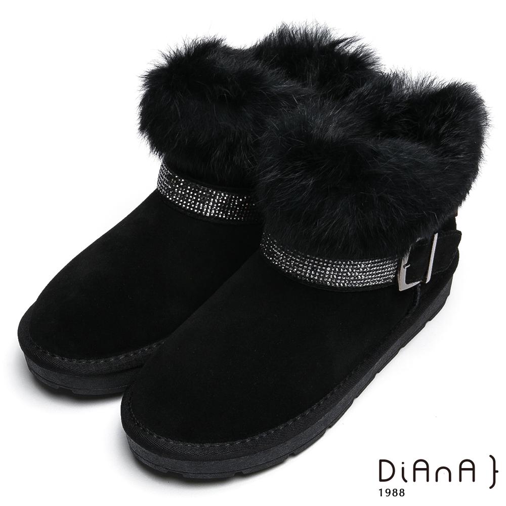 DIANA 華麗滿載—毛毛皮草水鑽釦飾雪靴-黑