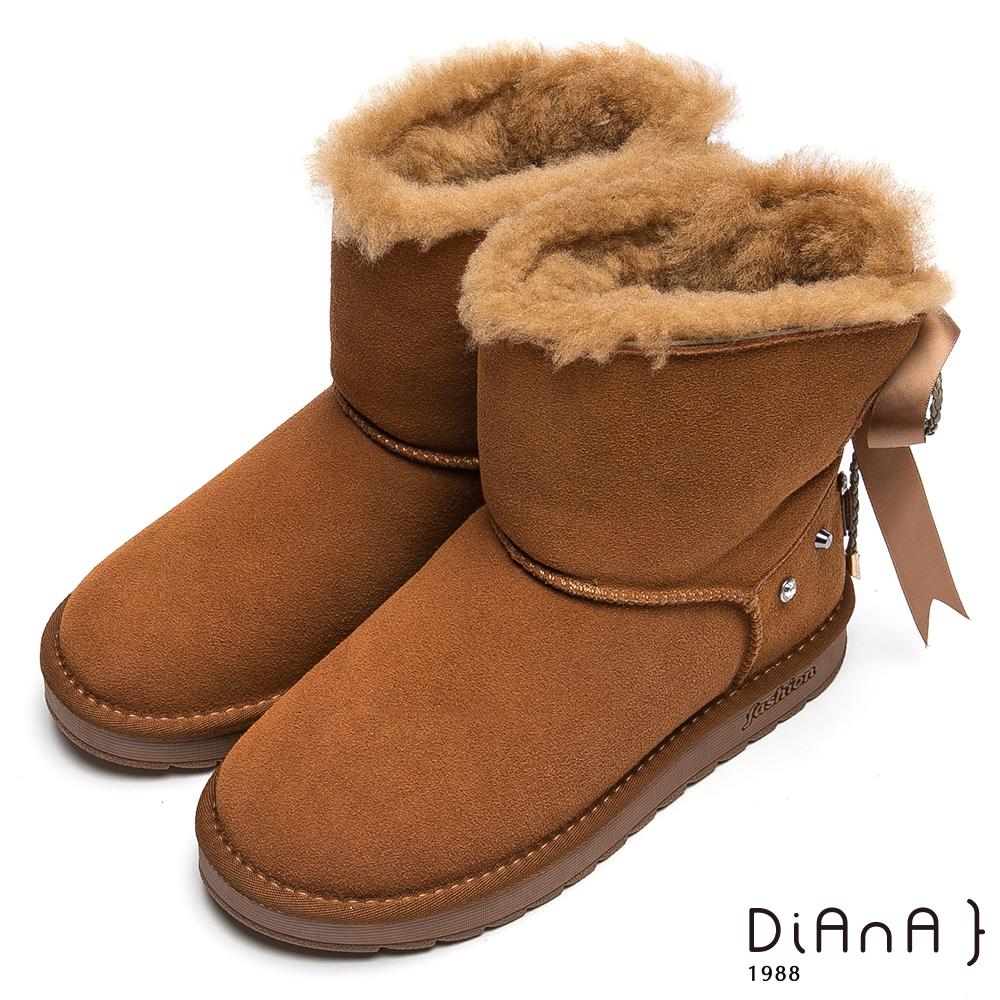 DIANA 俏麗可人—水鑽鉚釘緞帶編織繩蝴蝶結雪靴-棕