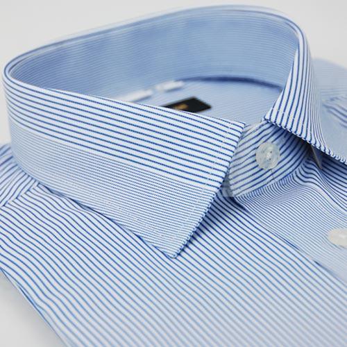 【金安德森】藍色變化領型窄版長袖襯衫