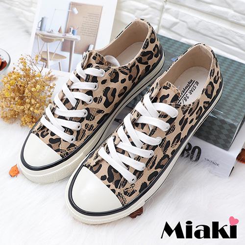 【Miaki】帆布鞋.豹紋時尚平底休閒鞋 (豹紋)