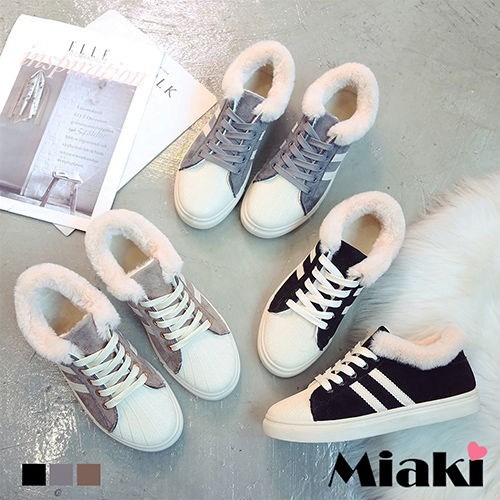 【Miaki】休閒鞋.復刻保暖平底帆布鞋 (卡其色 / 黑色 / 灰色)