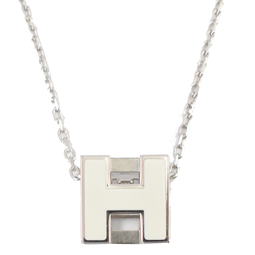 HERMES 經典立體 H LOGO 方形銀飾項鍊.銀/白