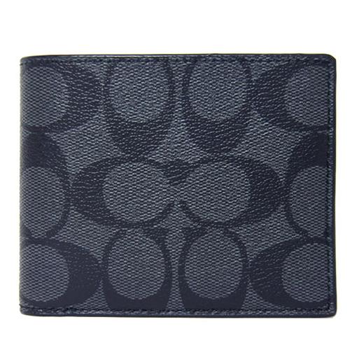 COACH PVC LOGO對開卡片短夾 -黑灰 75083