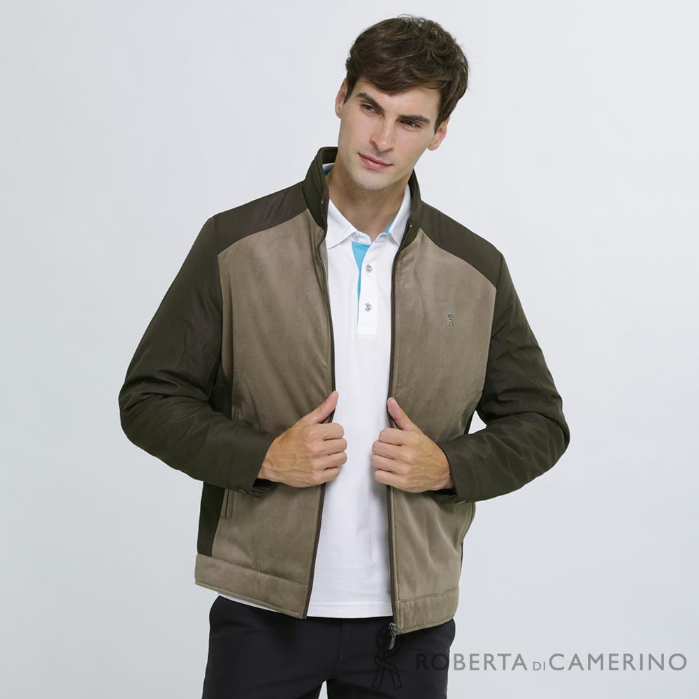 ROBERTA諾貝達 帥氣型男 內裡鋪棉 拼色夾克外套 棕褐