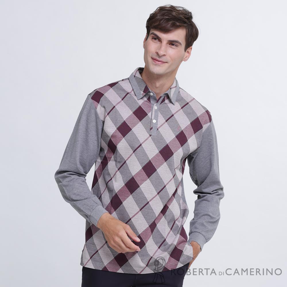 ROBERTA諾貝達 台灣製 都會時尚 經典菱格紋 純棉長袖POLO棉衫  灰紫