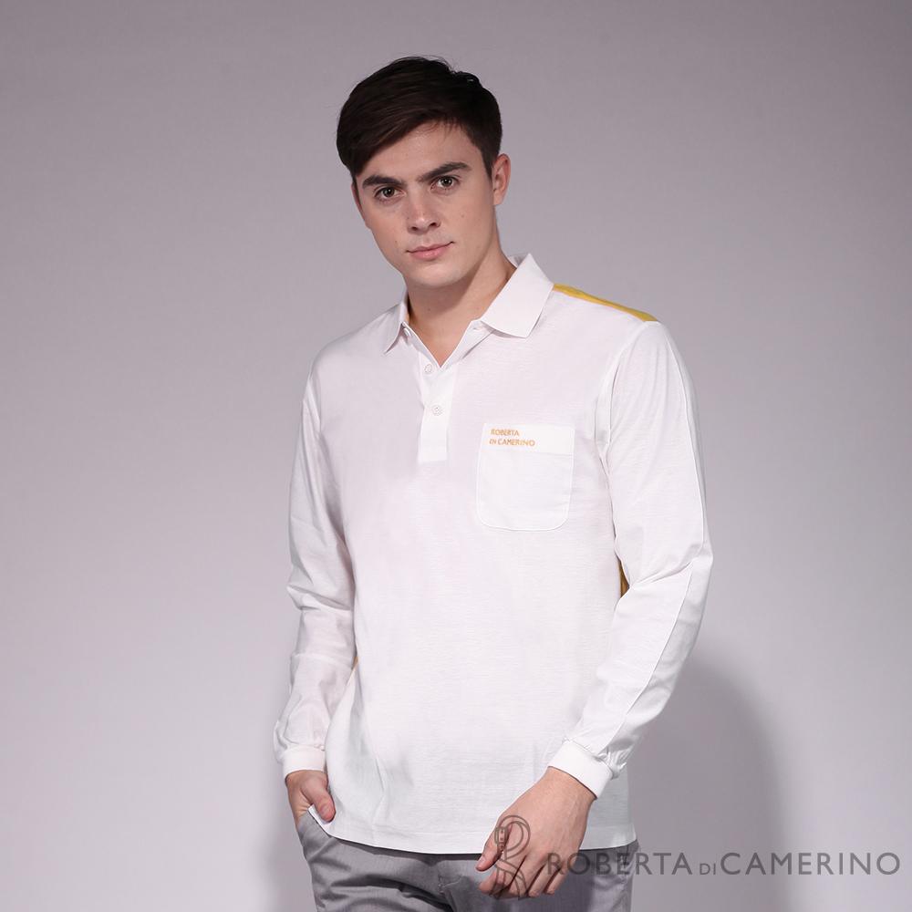 ROBERTA諾貝達 台灣製 運動風尚 合身版 抗UV 純棉長袖POLO衫  白色