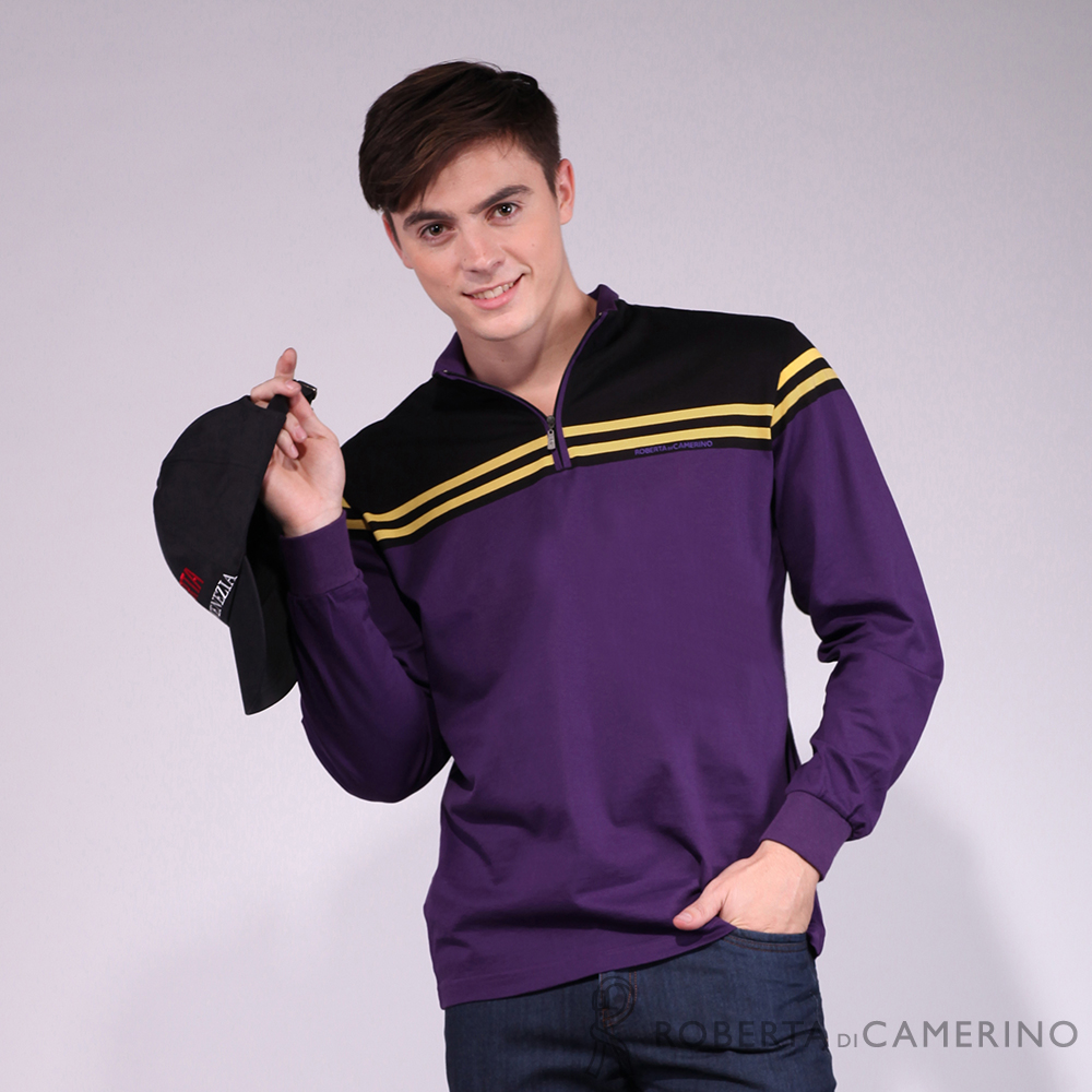ROBERTA諾貝達 台灣製  合身版 跳色純棉長袖POLO衫 黑紫