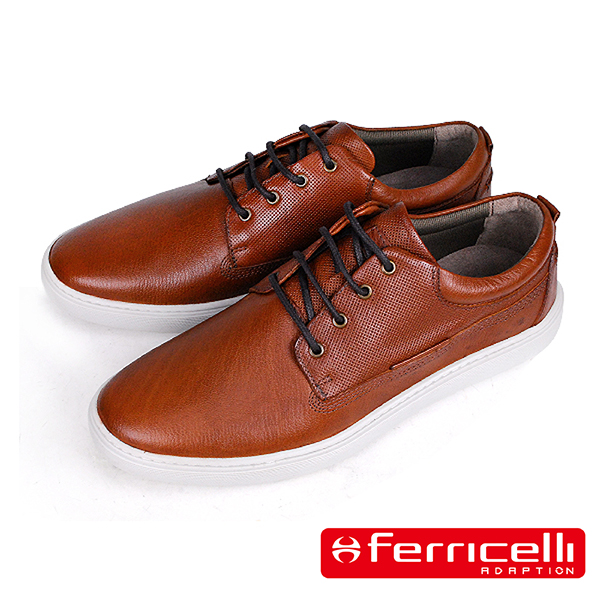 【ferricelli】Outback網格壓紋牛皮綁帶男仕休閒鞋 棕色(F51402-BR)