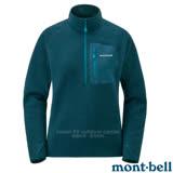 【MONT-BELL 日本】女新款 CP100 PULLOVER 舒適輕量保暖刷毛上衣.排汗休閒衫.中層衣/CLIMAPLUS 100薄刷毛.彈性透氣/1106594 藍黑