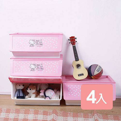 《真心良品x樹德SHUTER》第二代天使KITTY直取可疊式收納箱46L-4入組