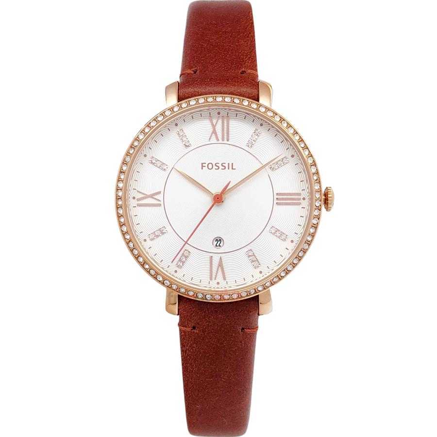 FOSSIL 手錶 ES4413 晶鑽閃耀玫瑰金 咖啡色皮帶 女錶