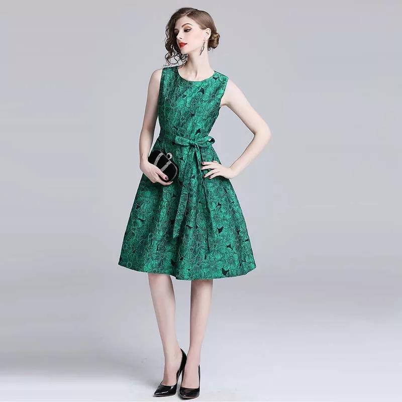 Olivia奧莉精品 華麗祖母綠蝴蝶結繫帶洋裝 M~2XL 蕾絲 洋裝 連身裙 禮服 伴娘服 媽媽裝