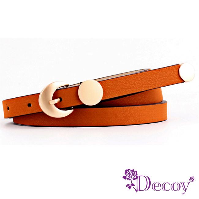 【Decoy】金屬圓幣*咖啡邊皮革細皮帶/深咖