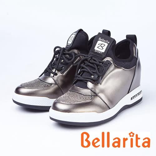 bellarita.造型水鑽內增高休閒鞋(8957-88灰色)