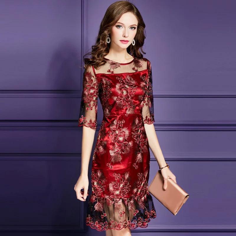 Olivia奧莉精品 古典華麗花朵剌繡蕾絲洋裝 M~4XL 蕾絲 洋裝 連身裙 禮服 伴娘服 媽媽裝